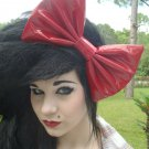 """Valentine's Day SALE """"Red Pleather"""" Cosplay Scene Hair Bow w/ snap clip"""