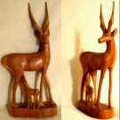 Antelope - mother and baby  wood carving
