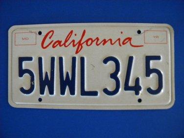 Vintage License Plate - California 5WWL345