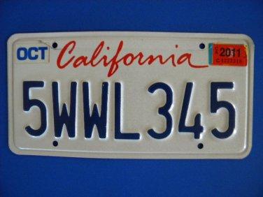 Vintage License Plate - California 5WLL345 2011