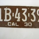 Antique License Plate – California 1930 1 B4339