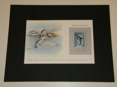 Matted Print and Stamp -peale's Porpoise - World Wildlife Fund