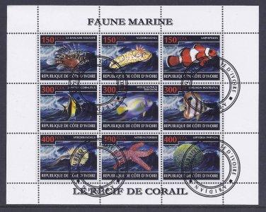Ivory Coast Tropical Fish Postage Stamps Souvenir Sheet