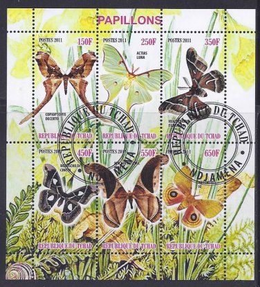 Moths Souvenir Sheet of Postage Stamps From Chad