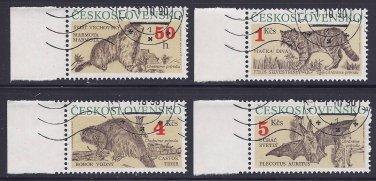 Czechoslovakian Set of Four Animal Postage Stamps