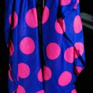 Blue with pink polka dots