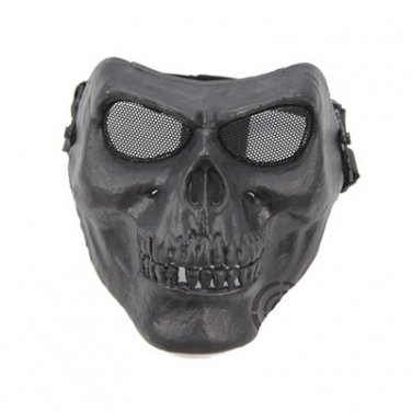 Death Skull Bone Airsoft Full Face Mask Protective Military Game - Black