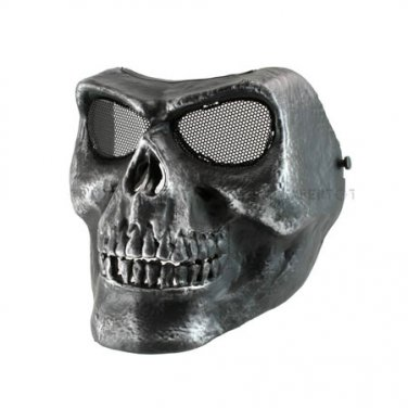 Death Skull Bone Airsoft Full Face Mask Protective Military Game - Silver Black