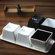 Keyboard Cup Set Coffee Drinking Three Ctrl/Alt/Del Computer Key-press Cup White Color