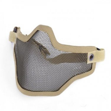 (Khaki) Airsoft Half Face Mask With Wire Mesh (Metal Net) Military Game