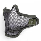 (Army Green) Airsoft Half Face Mask With Wire Mesh (Metal Net) Military Game