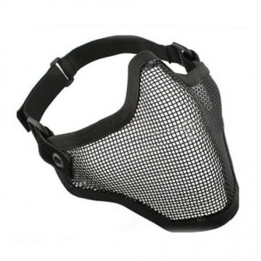 (Black) Airsoft Half Face Mask With Wire Mesh (Metal Net) Military Game