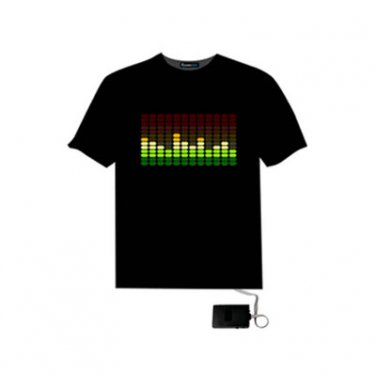 EL LED T-Shirt Light Glowing Sound Activated - DJ Music Frequency Spectrum Moving (Size M)