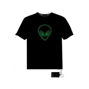 EL LED T-Shirt Light Glowing Dynamic Graph - ET Face (Size XXL)