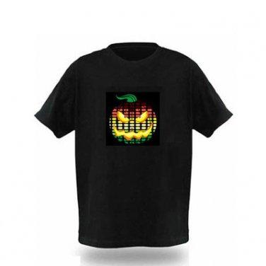 EL LED T-Shirt Light-up Sound Activated- Pumpkin Head Graph (Size L)