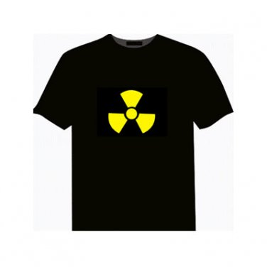 EL LED T-Shirt Light-up Dynamic Sound Activated- Nuclear Symbol Style (Size L)