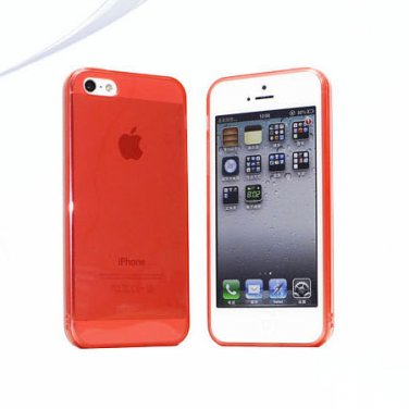 Slim TPU Soft Case Skin for iPhone 5 Transparent & Protective @Red