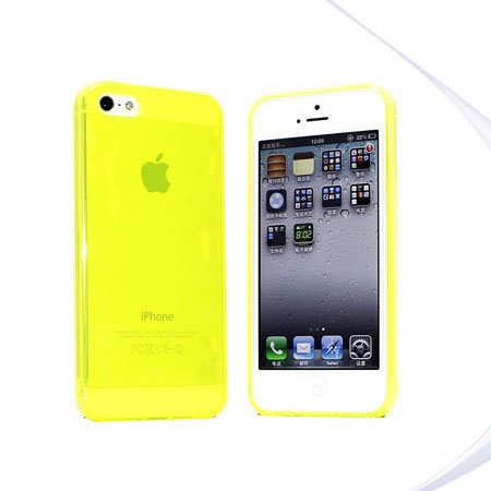 Slim TPU Soft Case Skin for iPhone 5 Transparent & Protective @Yellow