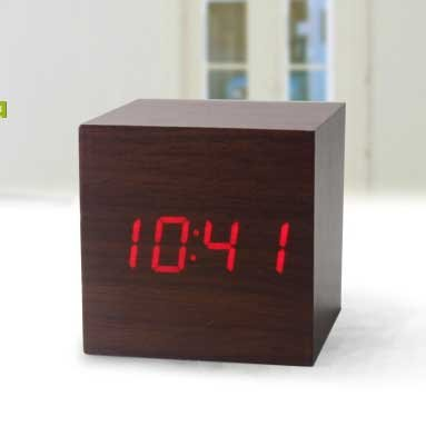 Digital LED Wooden Alarm Mini Clock Black Voice Control