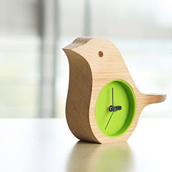 Early Bird Beech Mini Clock Wooden Shell Green Life Time Gadget