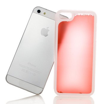 Liquid Filled Slim Case for iPhone 5 5G Luminous Quicksand Soft Cover Red Color