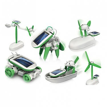 6-in-1 Solar Powered Robot DIY Educational Toy (Green)