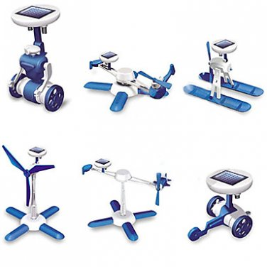 6-in-1 Solar Powered DIY Robot Toy Assembly Kit 3rd Version (Blue)