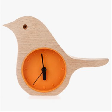 Orange - Early Bird Beech Mini Clock Wooden Shell Green Life Time Gadget