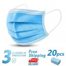 20 Disposable Face Mask Daily Protective 3-ply Respirator Non-woven Mouth Mask BFE95