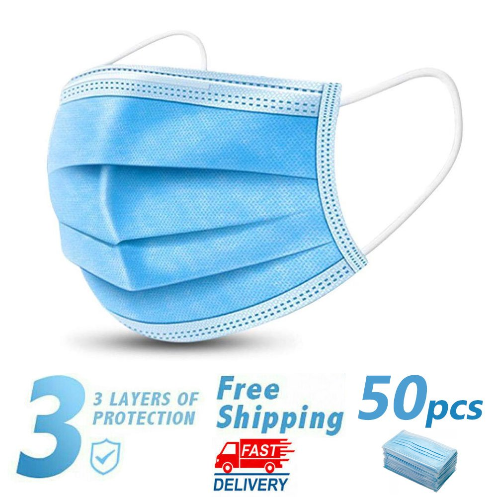 50 Disposable Face Mask Daily Protective 3-ply Respirator Non-woven Mouth Mask BFE95
