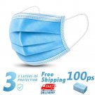 100 Disposable Face Mask Daily Protective 3-ply Respirator Non-woven Mouth Mask BFE95