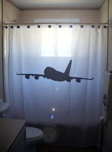 Unique Shower Curtain Airplane passenger 747 jet jumbo airline