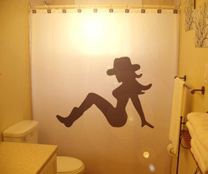 Unique Shower Curtain Sexy Nude Naked Female Woman CowGirl