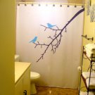 Unique Shower Curtain Birds Tree BlueBirds Lovebirds Blossom