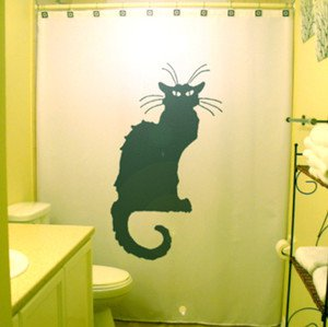 Unique Shower Curtain Tournée du Chat Noir paris black cat