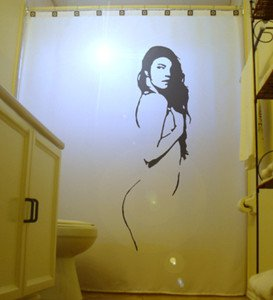 Unique Shower Curtain Sexy Nude Female Pin Up Holding Breast