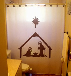 Christmas Unique Shower Curtain Nativity Scene Birth of Jesus Designer Shower Curtain