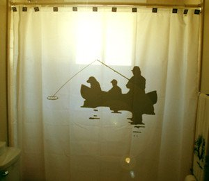 Unique Shower Curtain Fishing Trip canoe family dog kayak camp