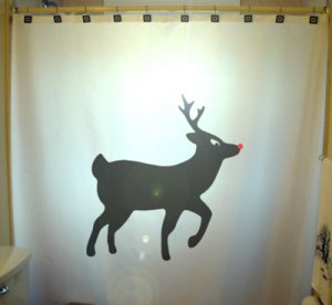 Christmas Unique Shower Curtain Reindeer Rudolph Red Nose Fly Designer Shower Curtain