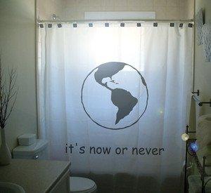 Unique Shower Curtain earth Now Never environmental activists