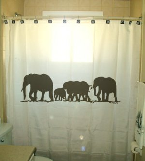 Unique Shower Curtain Elephants Herd Family Elephant 02