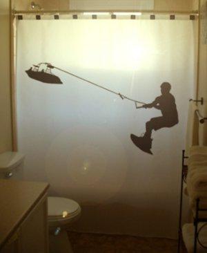 Water Ski Unique Shower Curtain Wakeboard Waterskiing Skiing