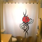 Unique Shower Curtain Flowers Floral Red Rose Leaf Leaves love