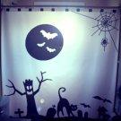 Halloween Unique Shower Curtain Black Cat Bats Graveyard Ghoul