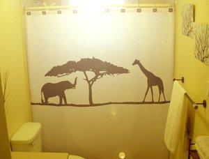 Unique Shower Curtain Elephant Giraffe Wild Acacia Tree Africa