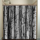 forest wood trunk gray birch tree shower curtain  bathroom