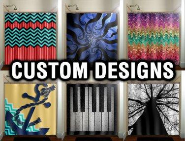 Custom Window Curtain Panels, Window Treatment, Shower Curtain, Chevron Octopus