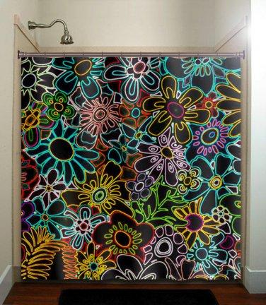 retro chic multi color floral neon flowers shower curtain  bathroom