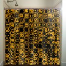 golden orange black art halloween shower curtain  bathroom