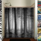 fifty shades of gray woodland forest trees shower curtain  bathroom